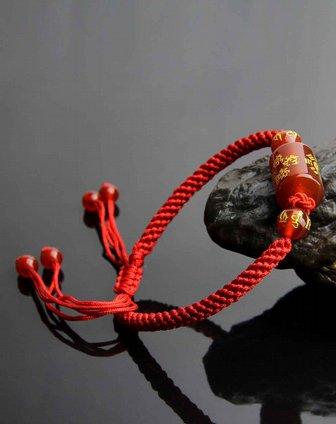 天然红玛瑙纯手工编绳转运手链附证书