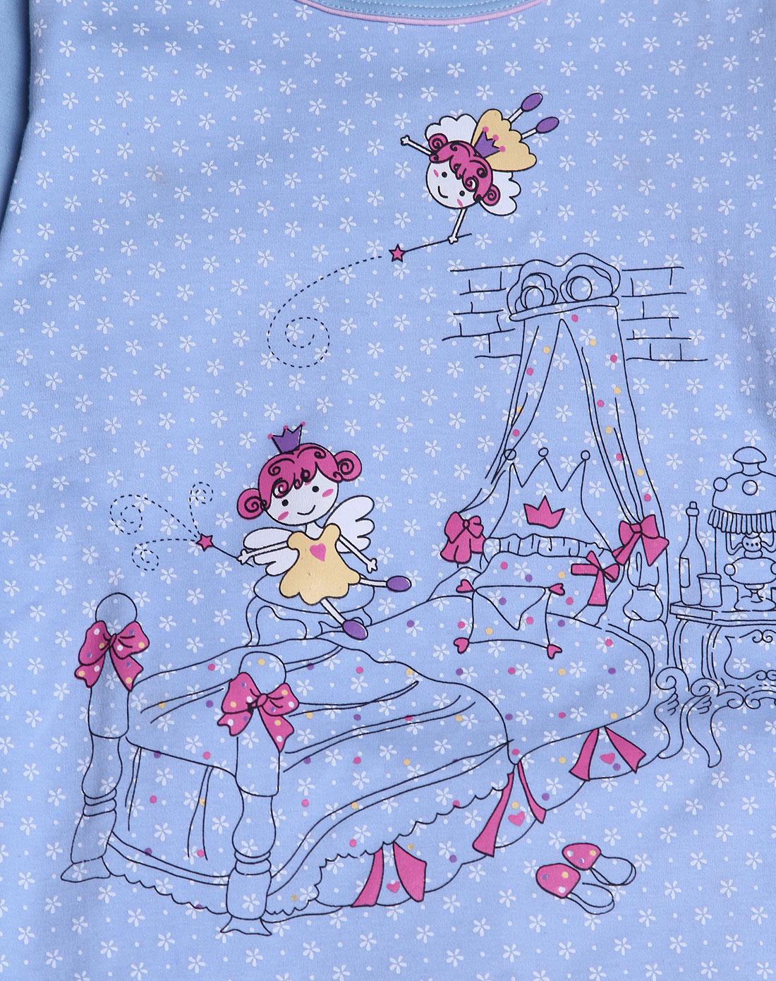 女童浅蓝色卡通印花长袖针织内衣套装