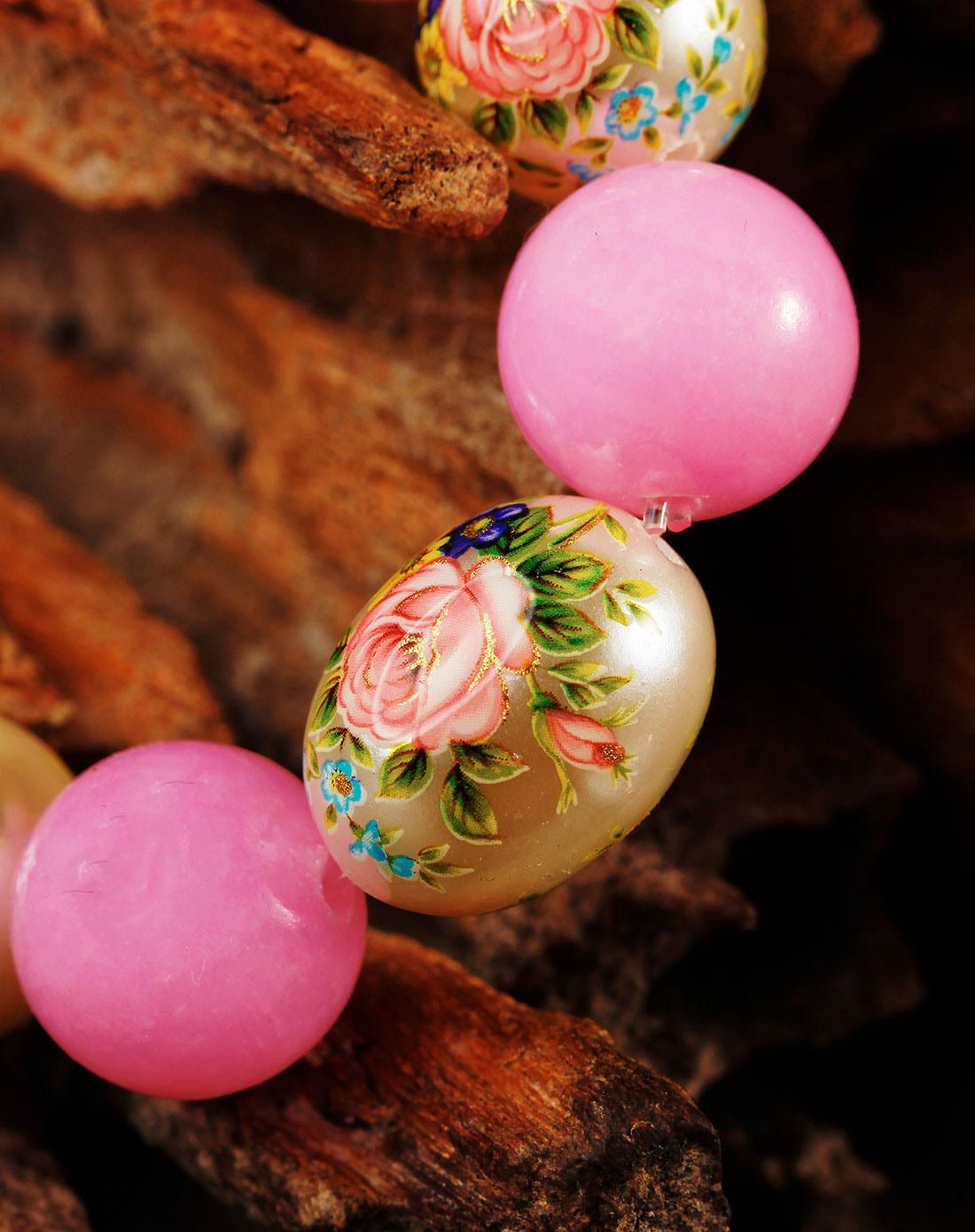 日本手绘珠.粉石手链(盛招桃花)