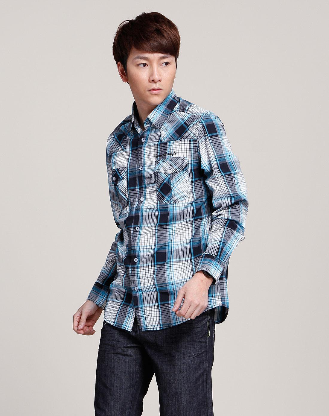 森马蓝/黑/灰色格纹长袖衬衫083141005-084图片