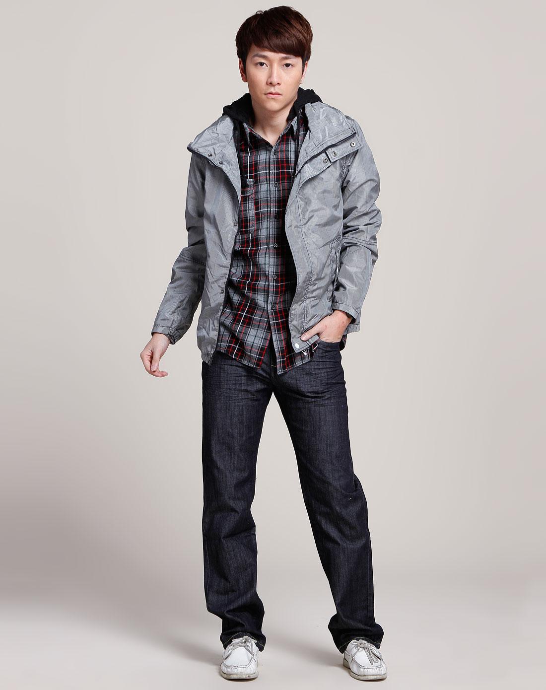 森马-男装黑/灰色细格纹时尚长袖图片