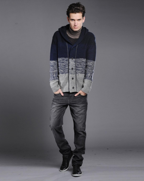 l2 利郎 藏蓝灰色开襟连帽长袖休闲针织外套