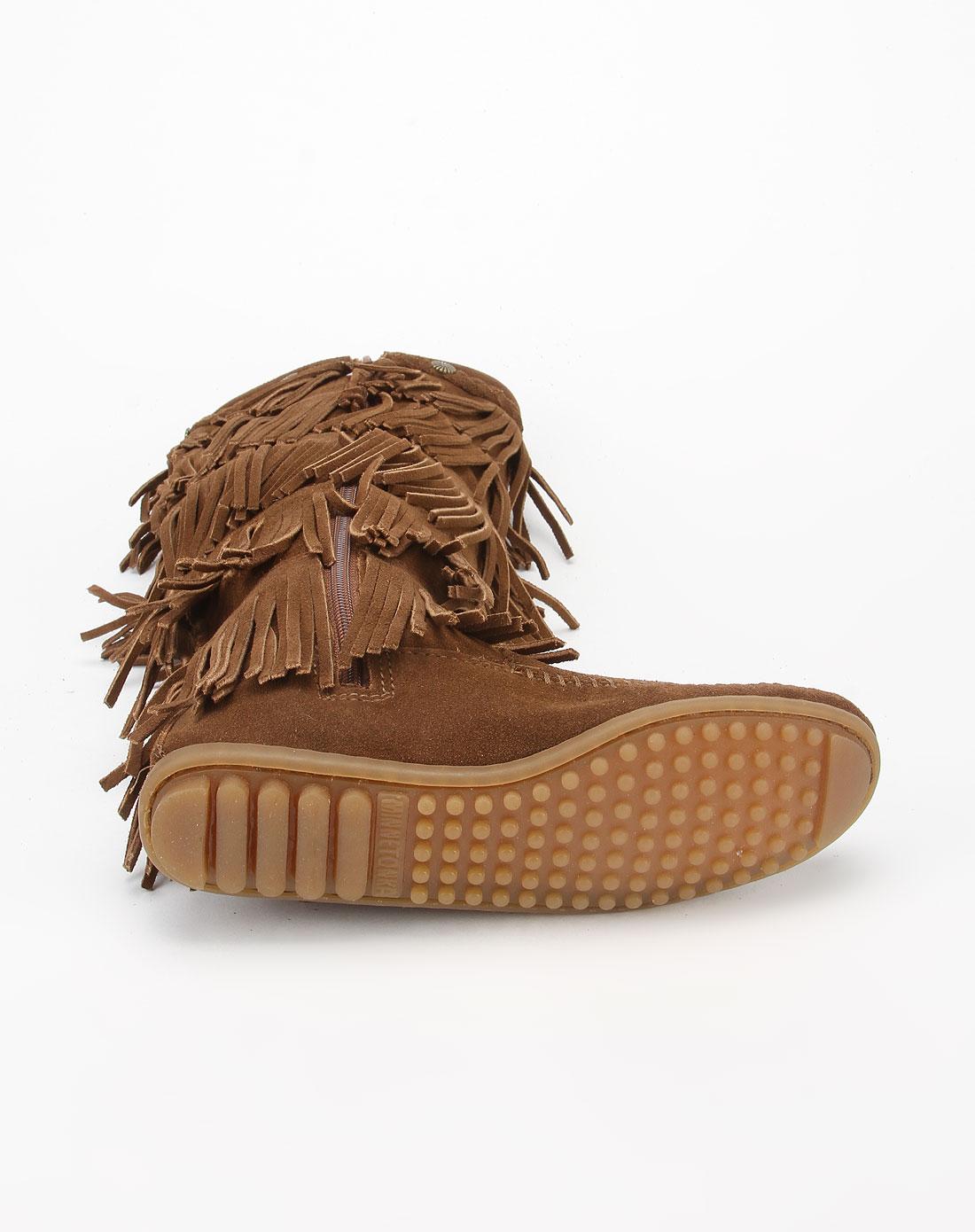 深棕色单高靴1658