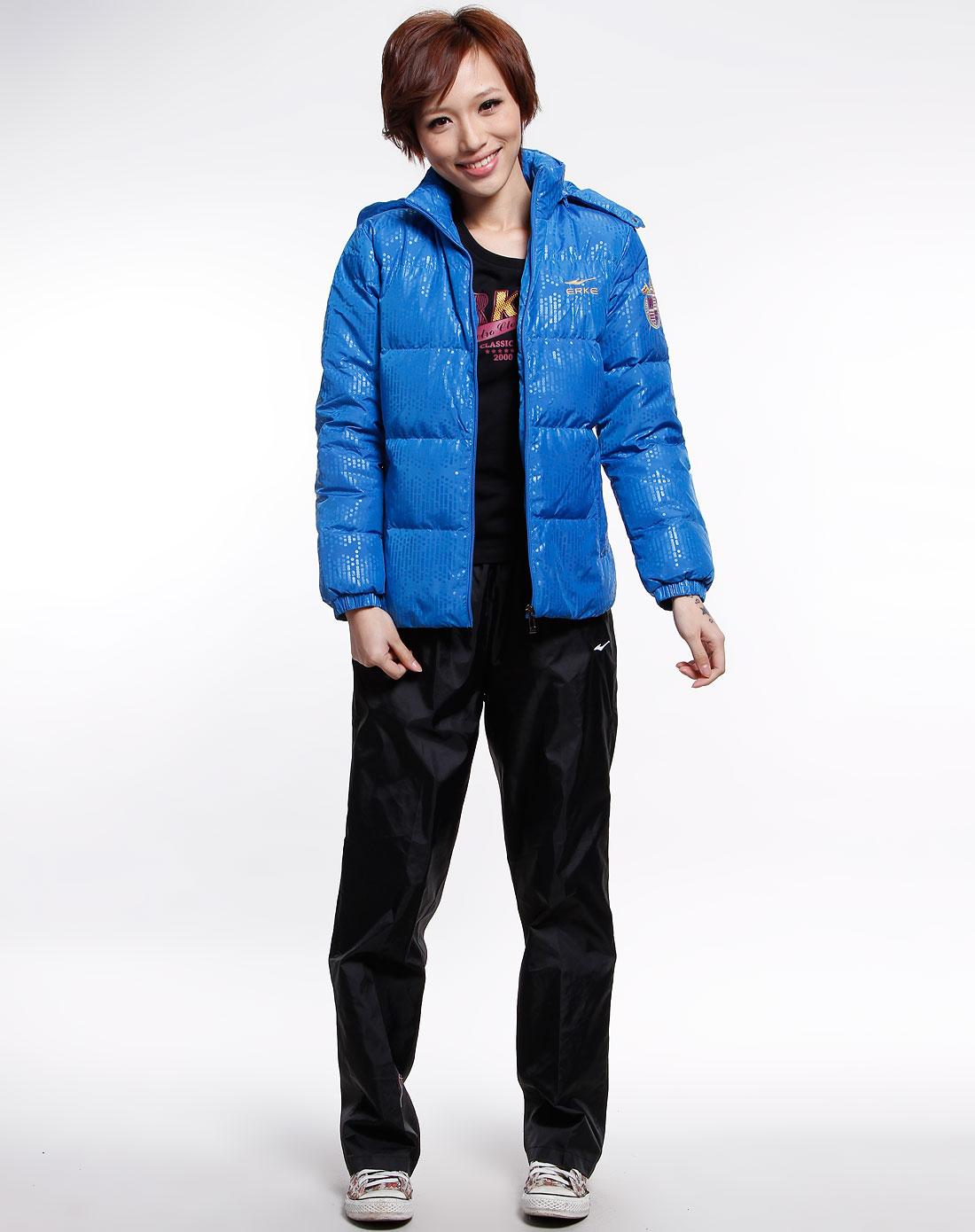 天蓝色点纹长袖羽绒服-65