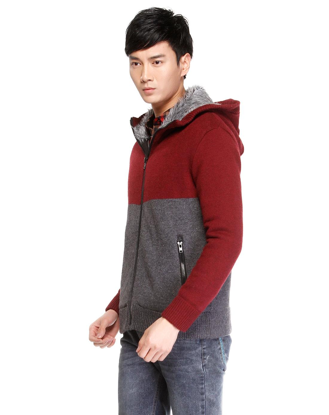 男款酒红色带帽长袖毛衣外套