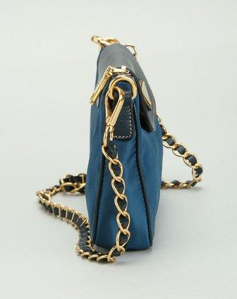 普拉达prada 女款蓝色翻盖时尚斜挎包