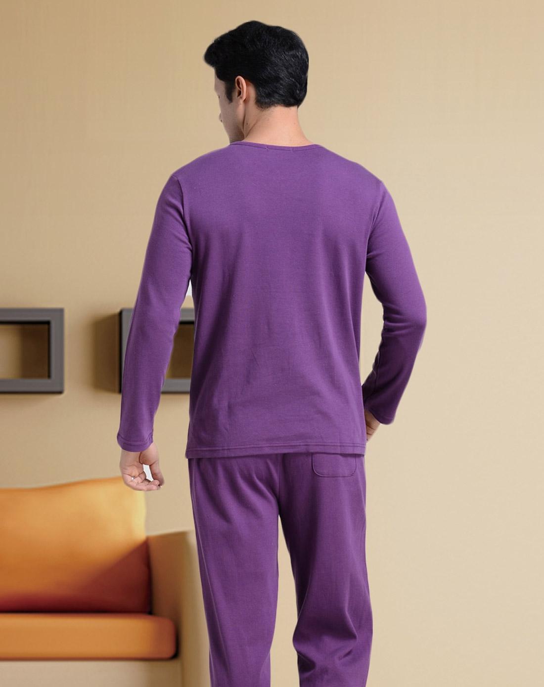 男士紫色花格全棉睡衣