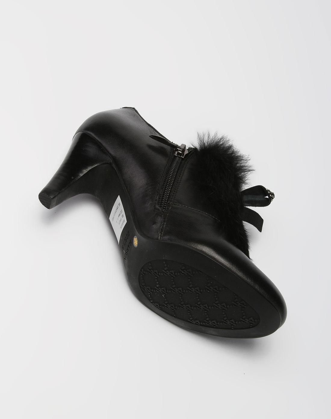 哈森harson-女款黑色时尚高跟皮鞋图片
