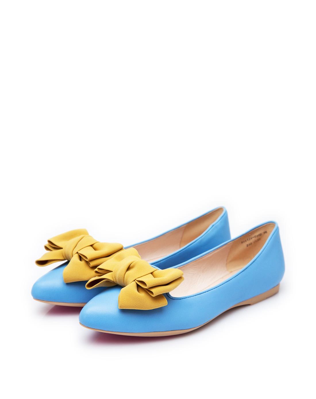 kitty14年新款浅蓝色羊皮平跟浅口单鞋s44124