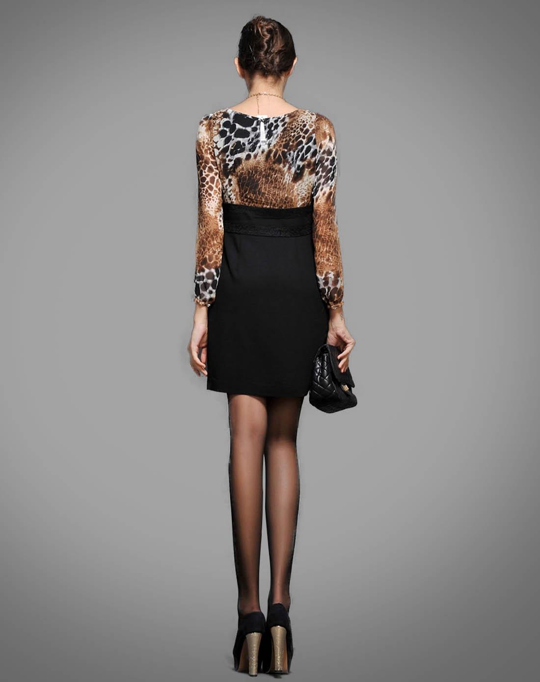 咖啡长袖连衣裙图片