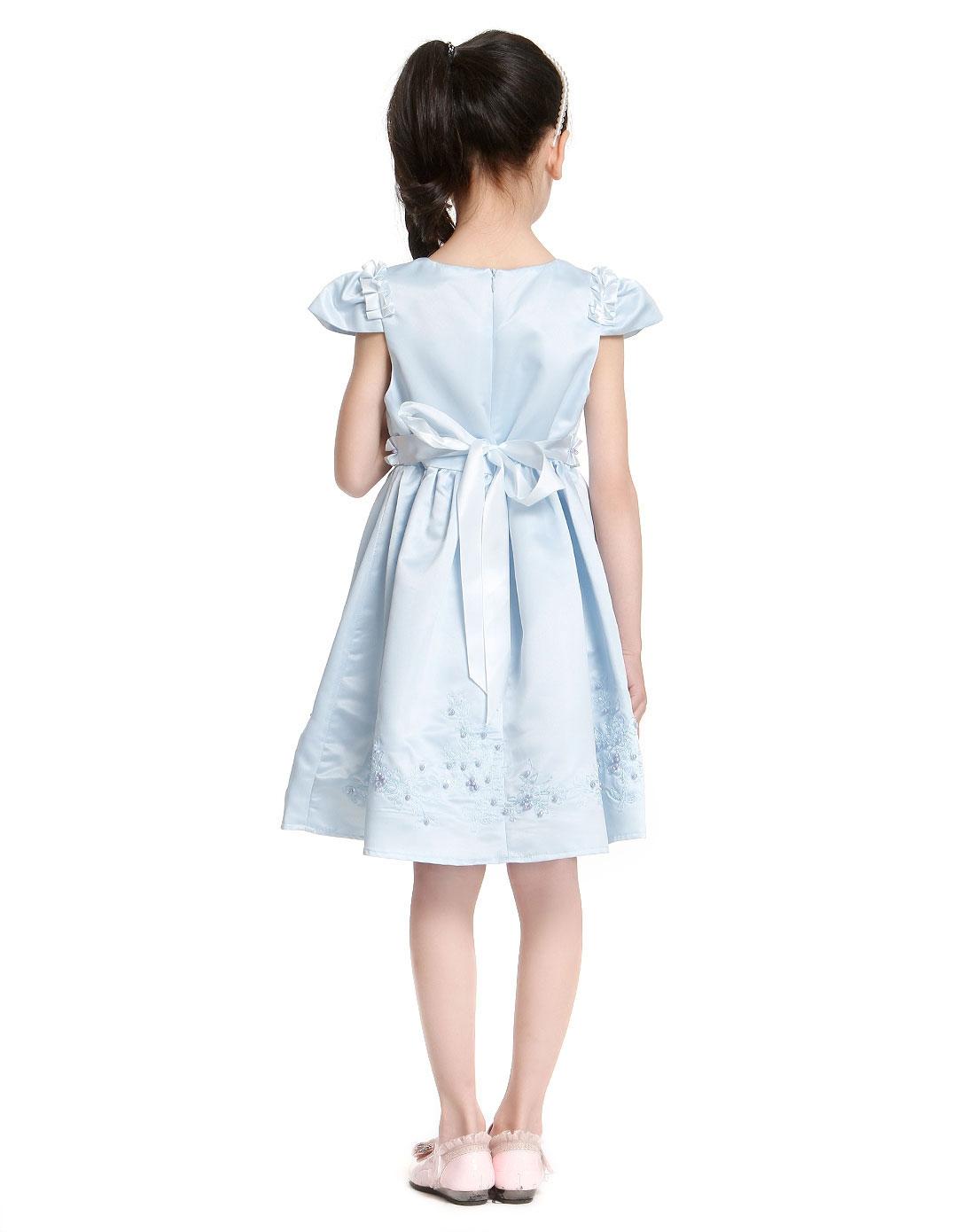 女童水蓝色可爱淑女短袖连衣裙