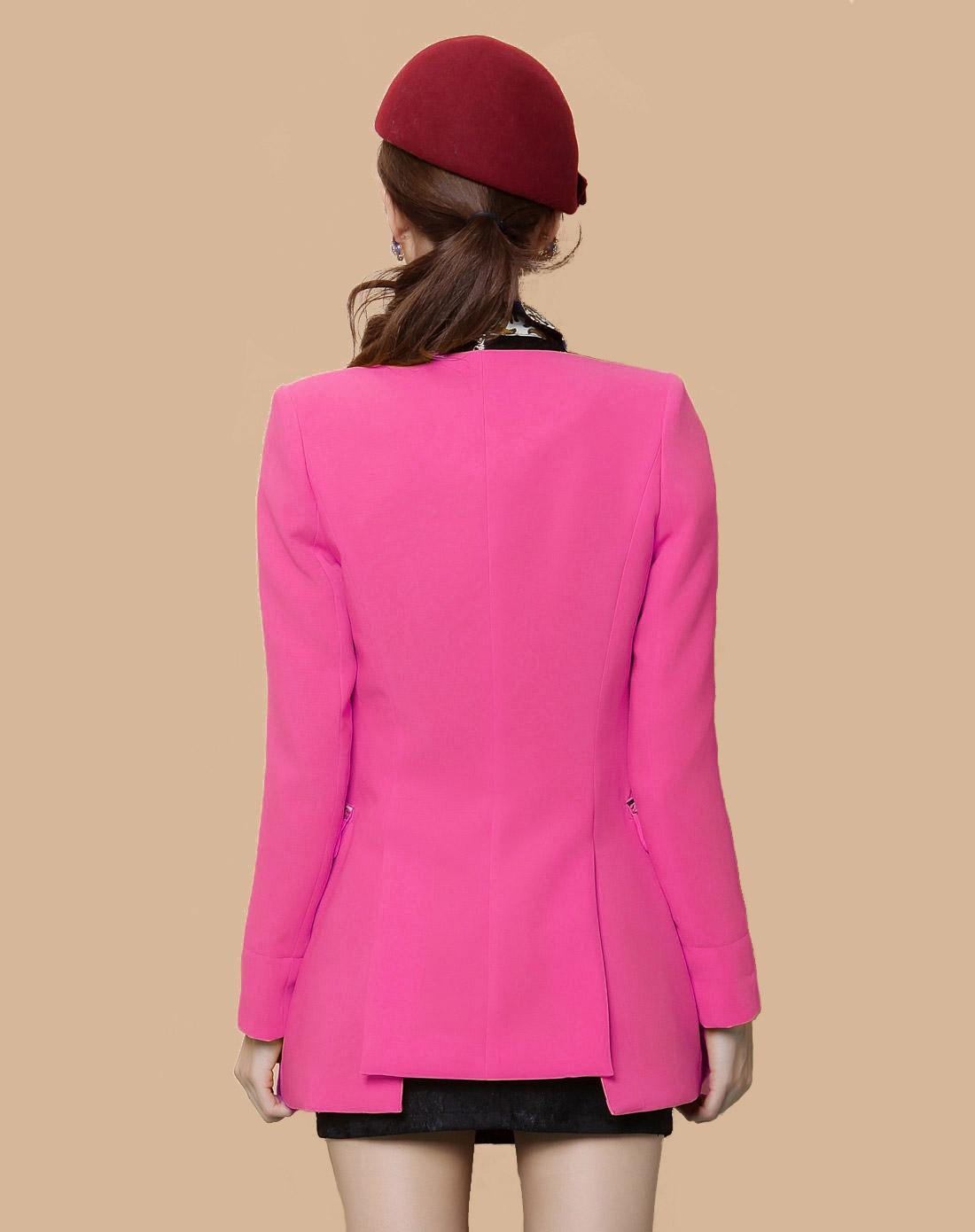 深粉色时尚修身长袖西装