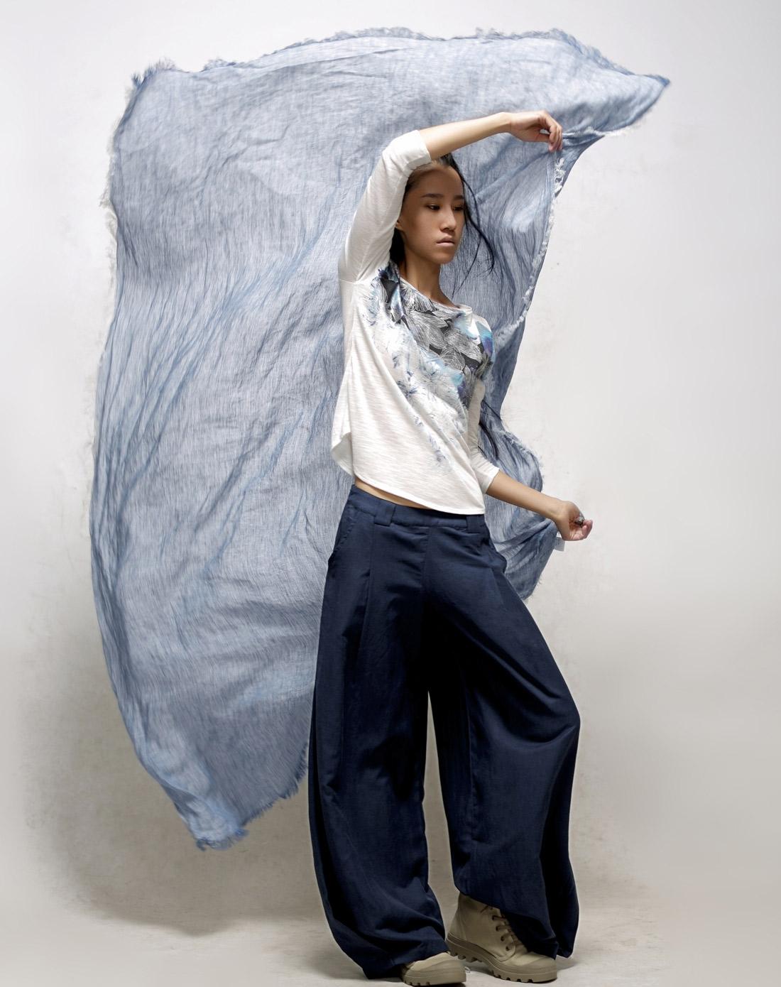 素缕souline蓝色《稻穗》通勤围巾sl30010001图片