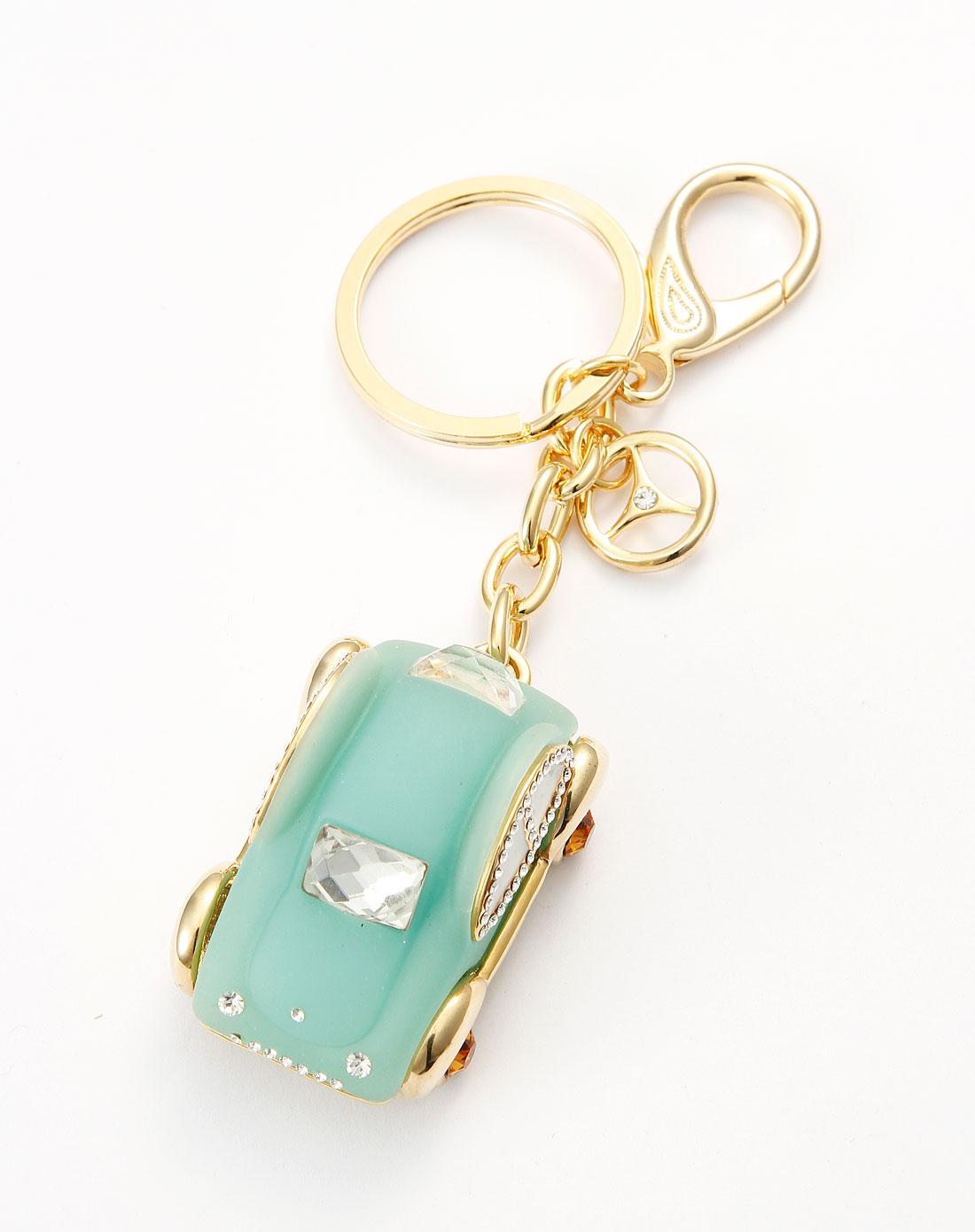 可爱蓝色水晶胶钥匙扣