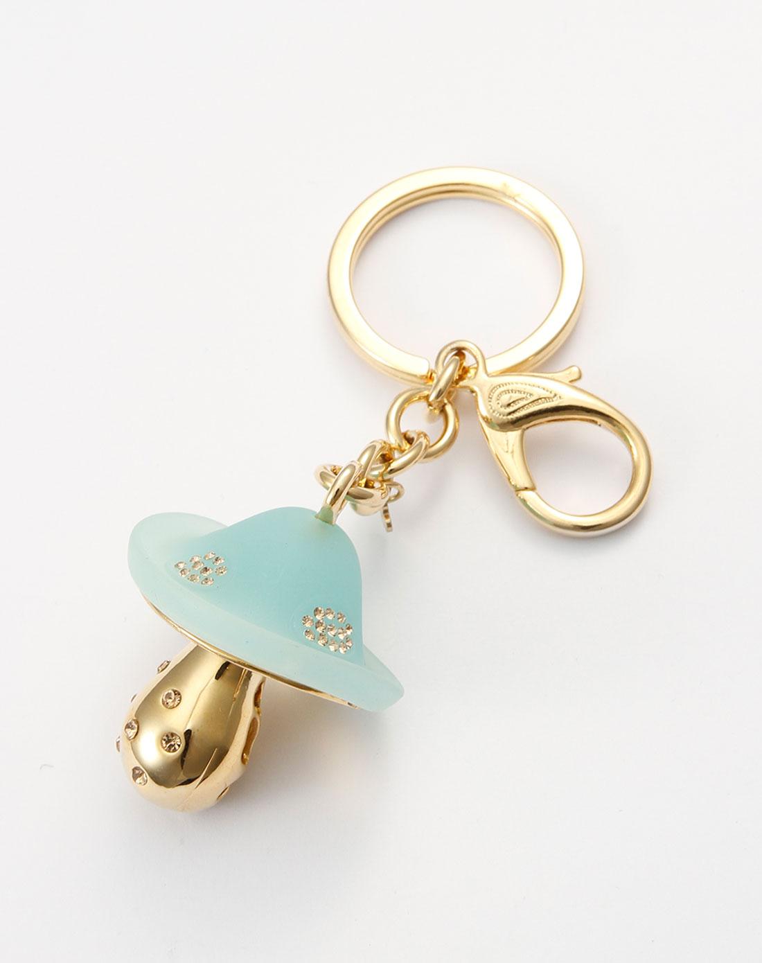 威妮华viennois-绿/金色小蘑菇时尚钥匙扣