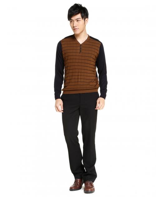 george beffry 男款咖啡色丝光羊毛v领针织衫