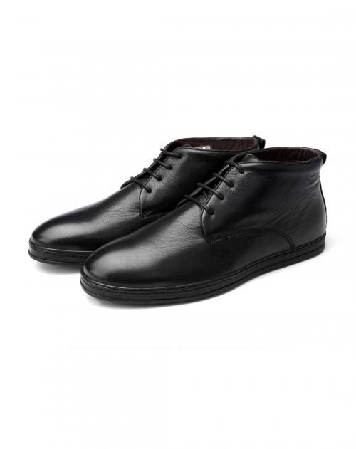 枫叶 黑色头层牛皮棉鞋图片