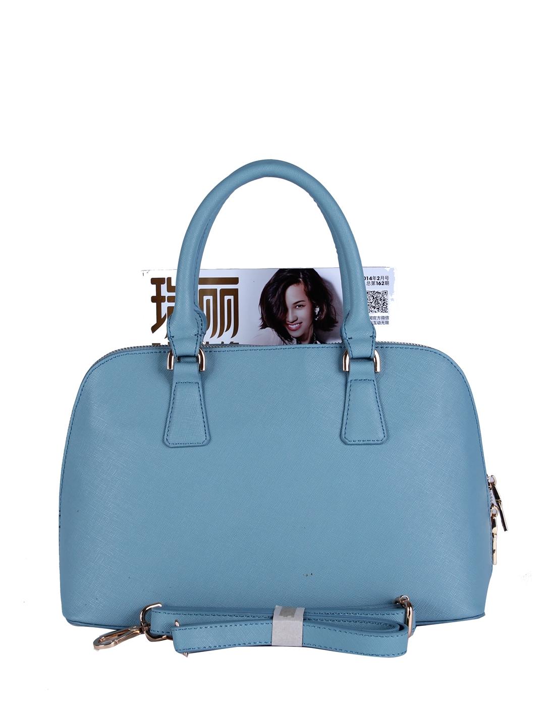 欧美时尚压纹天蓝色贝壳包