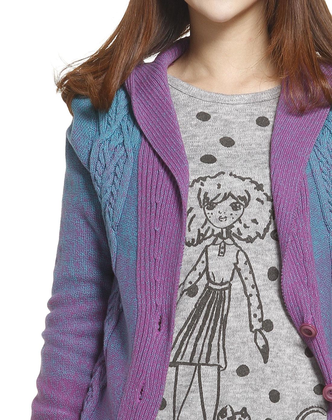 gogirl蓝紫色渐变休闲长袖针织开衫g2113n128s036n