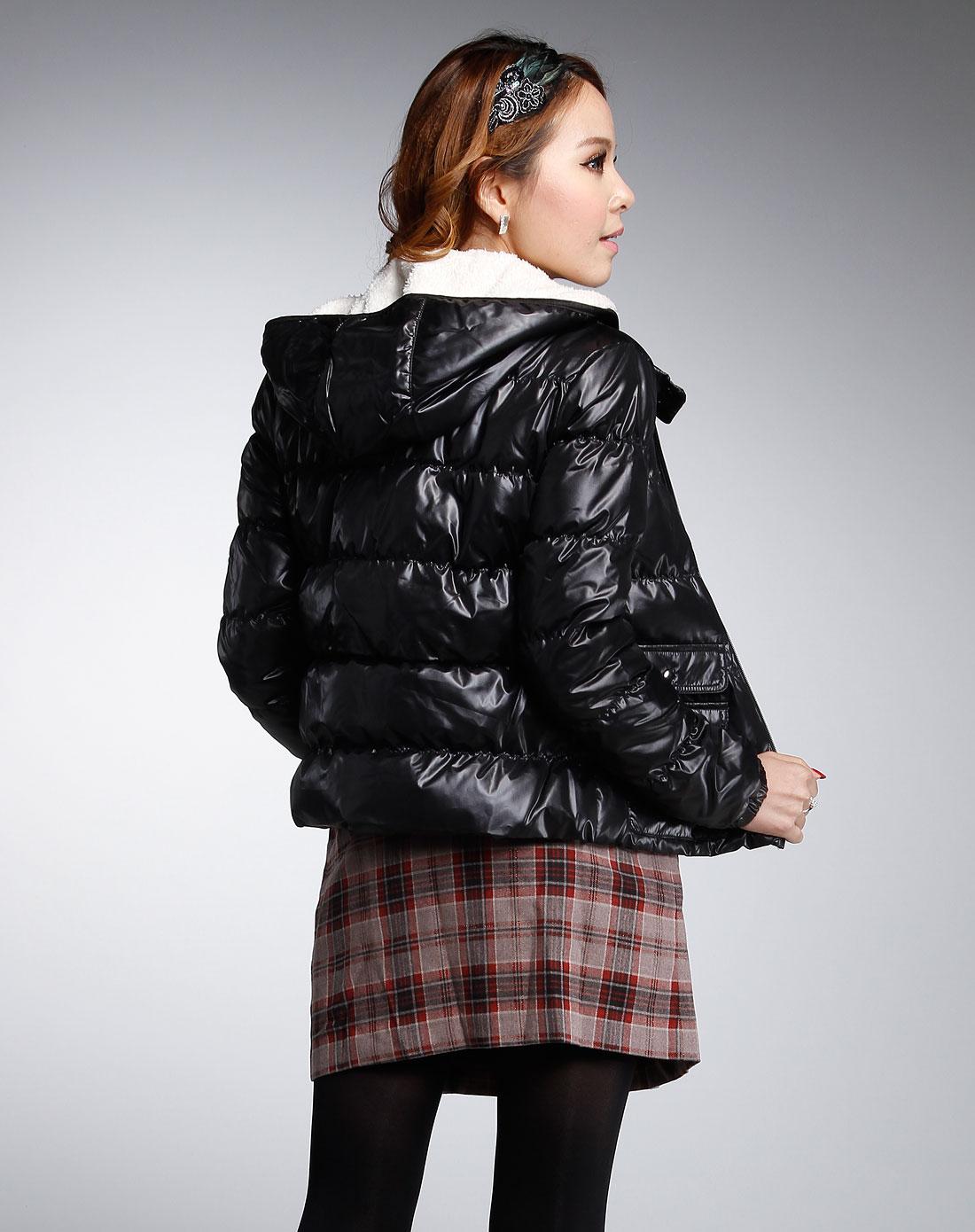 黑色长袖时尚羽绒服np1215油辊图片