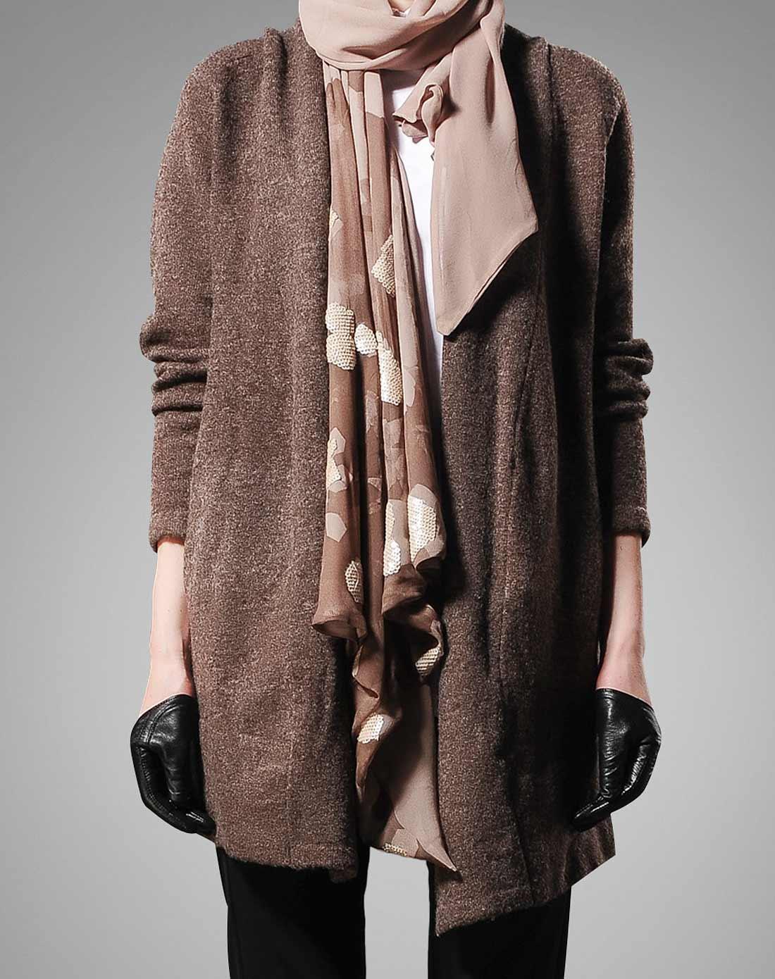 咖啡色简约时尚长款长袖针织外套