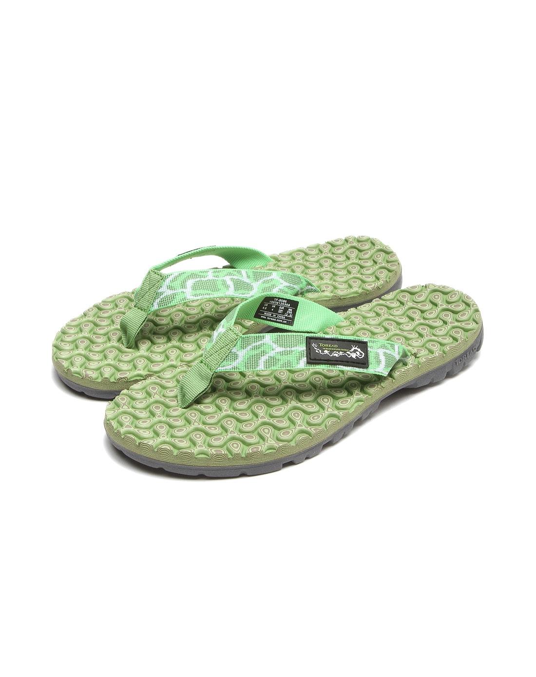 女款立体花纹底绿色舒适拖鞋