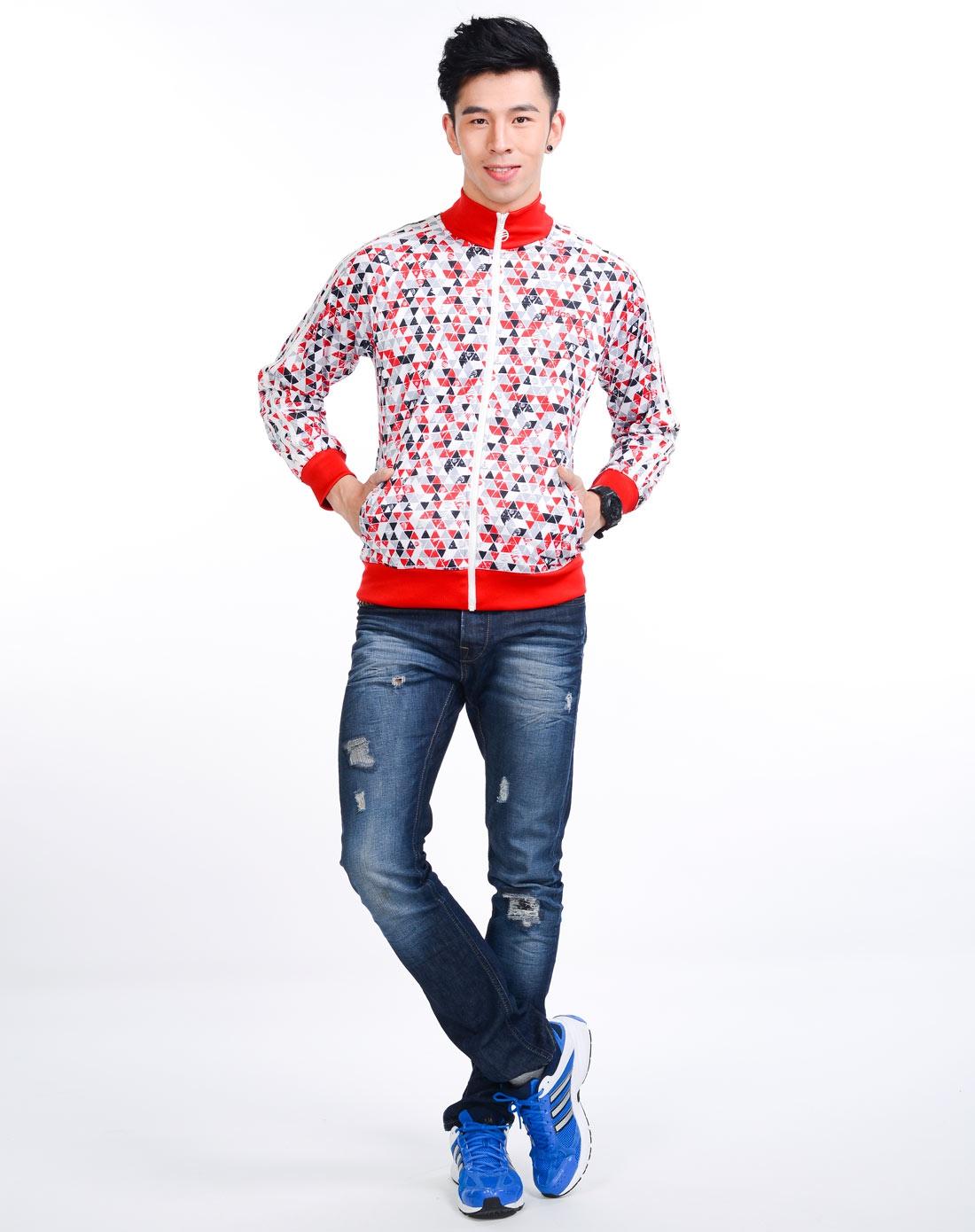 阿迪达斯adidas 男子白底红色印花夹克