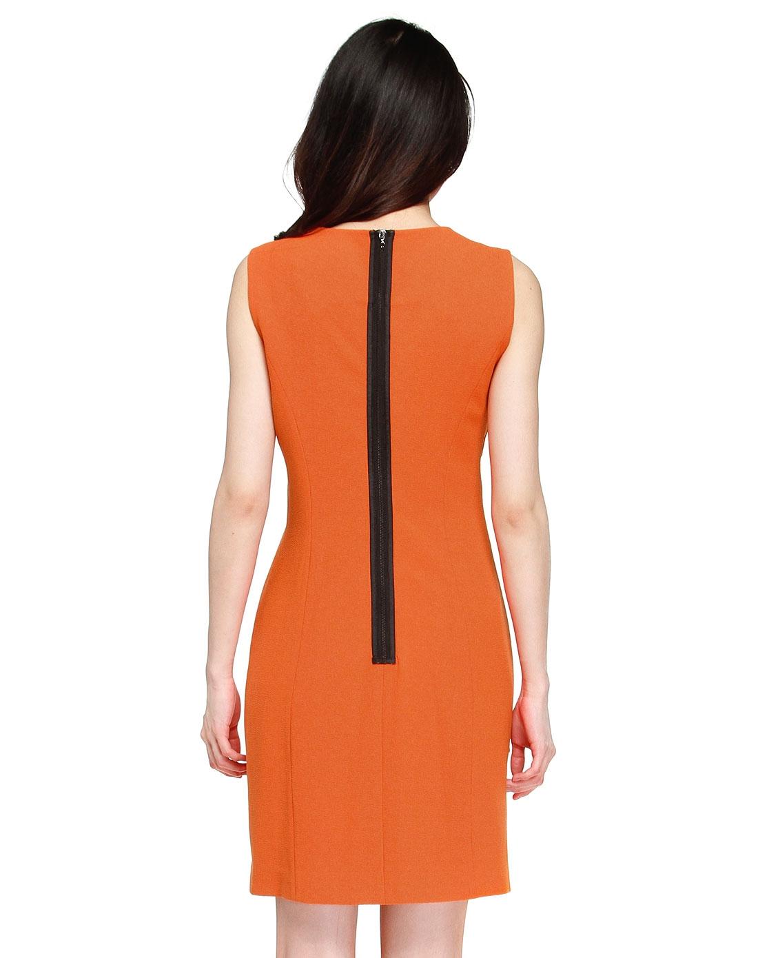无袖跺(h��ފ9_无袖修身橙色连衣裙