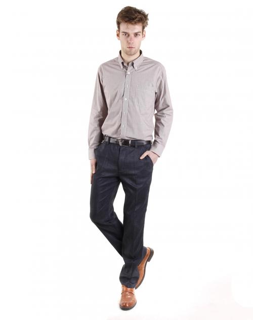 george beffry 男款紫红格高支纯棉长袖衬衫
