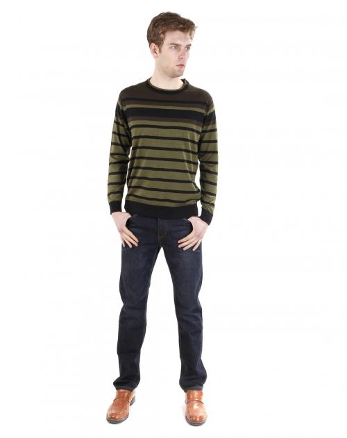 george beffry 男款草绿色低圆领丝光羊毛针织衫