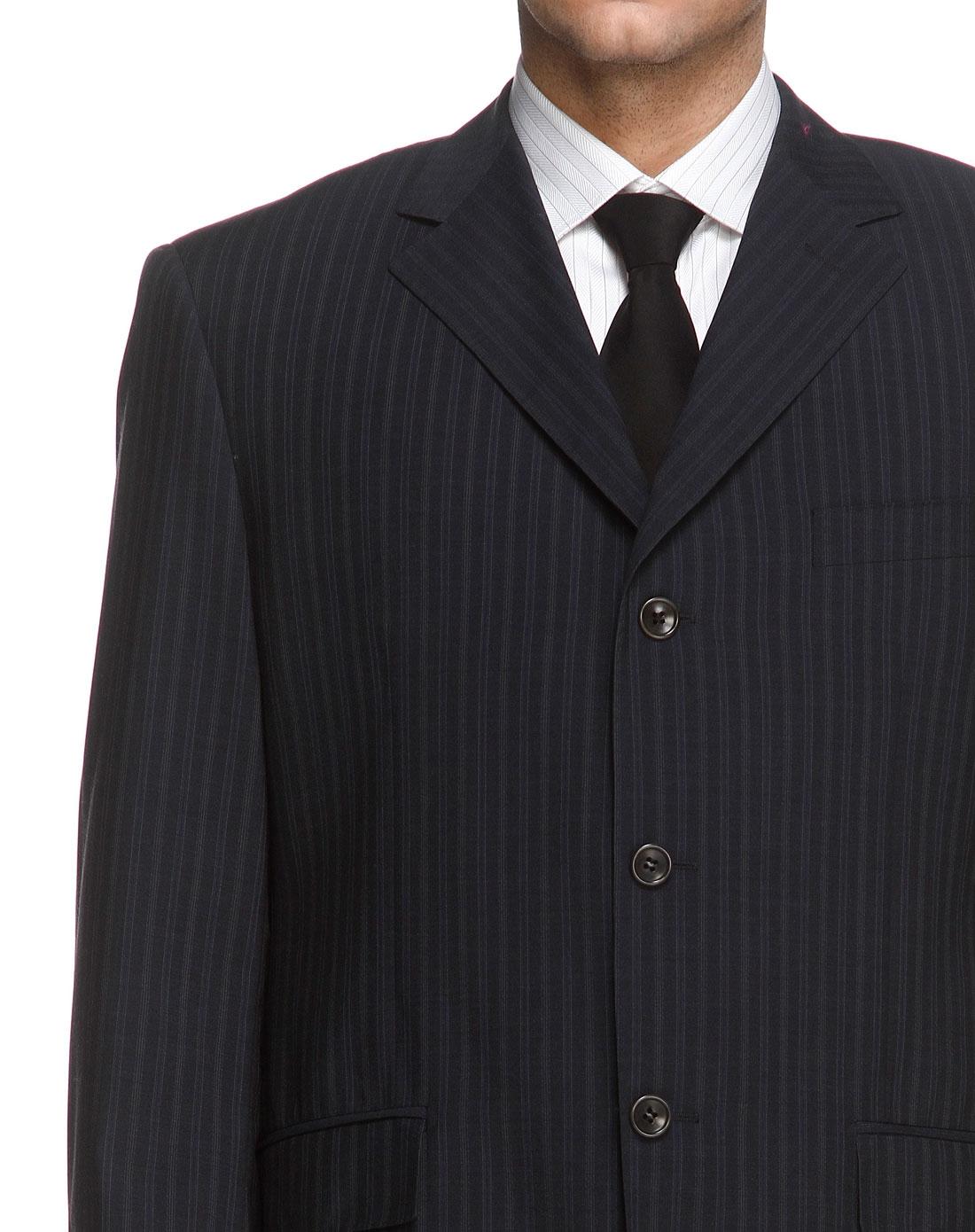 深灰蓝色竖条纹长袖西服c版