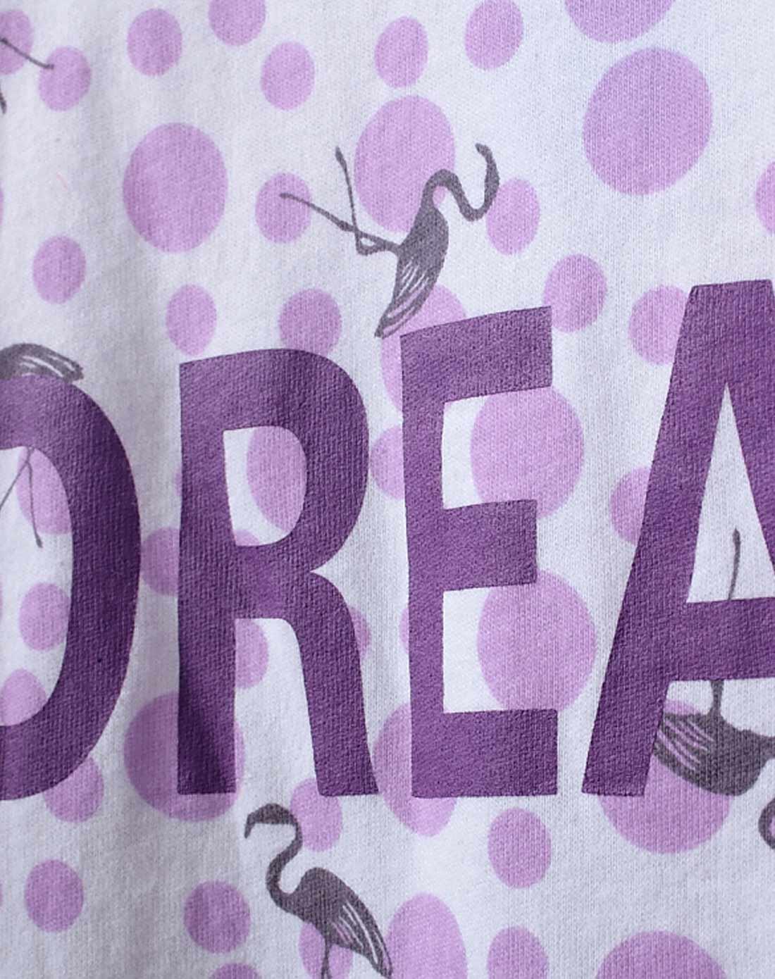 女款白底紫色圆点仙鹤印花长袖套装