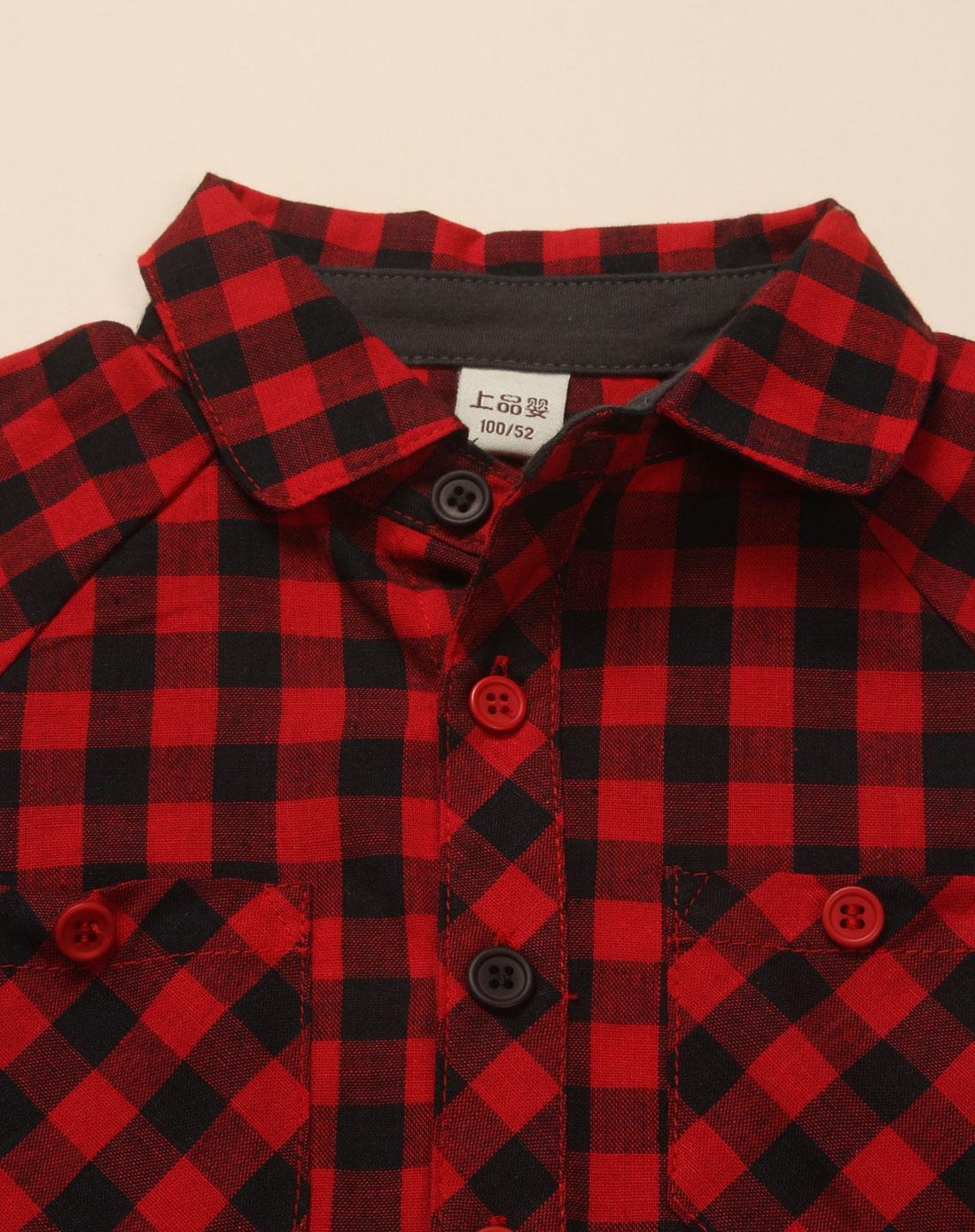 男童红色格仔贴袋短袖衬衫