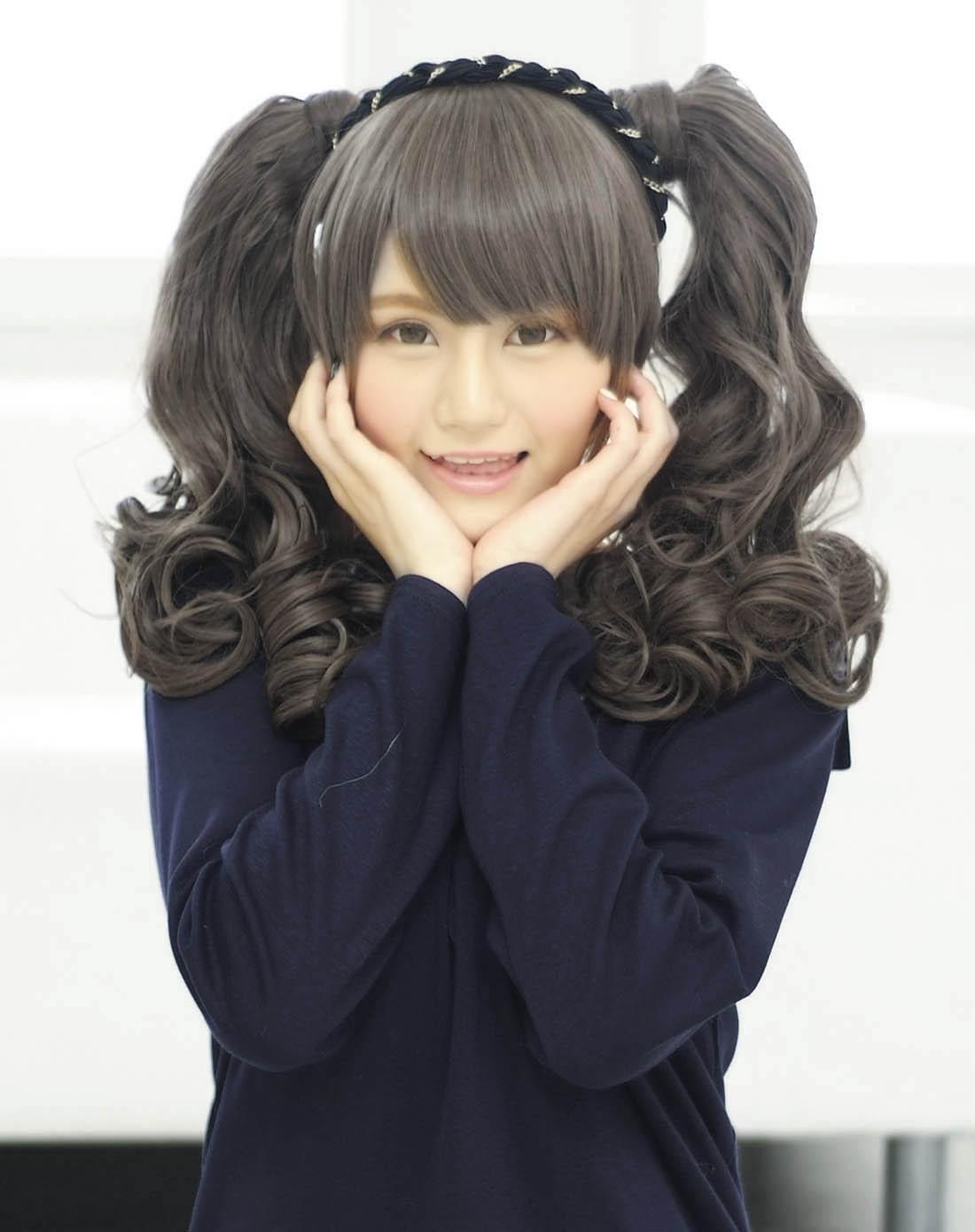 aqua doll 独家新款魔术贴卷发马尾 时尚可爱 华丽摩登 黑色,双马尾