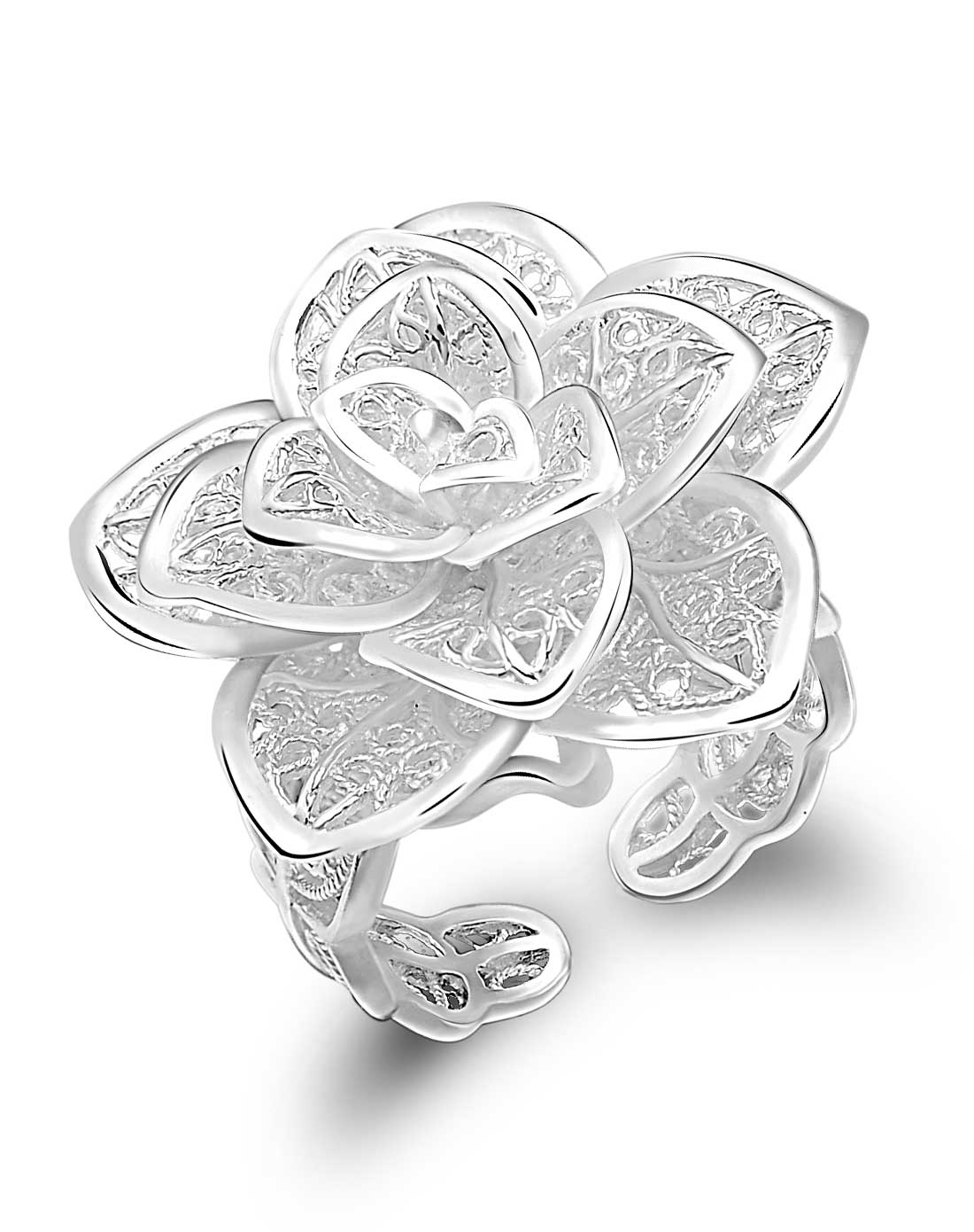 玫瑰纯银戒指