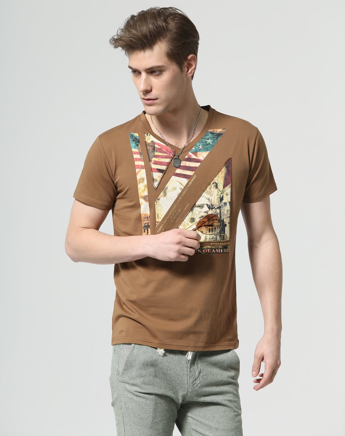 咖啡美国风景印花短袖t恤