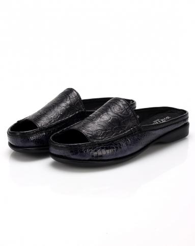 元喜won777hee黑色压花个性舒适拖鞋y03554533001