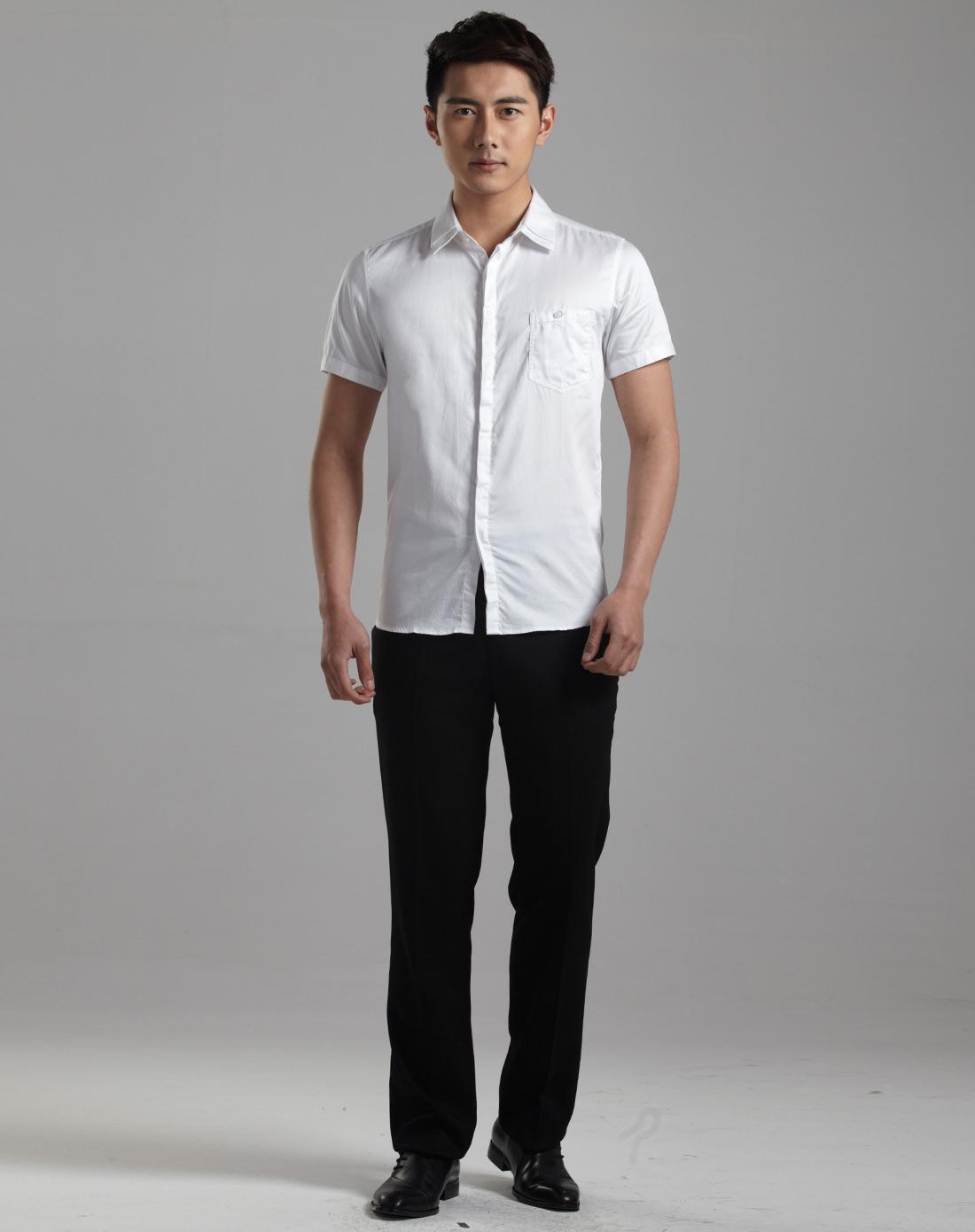 男士白色短袖衬衫