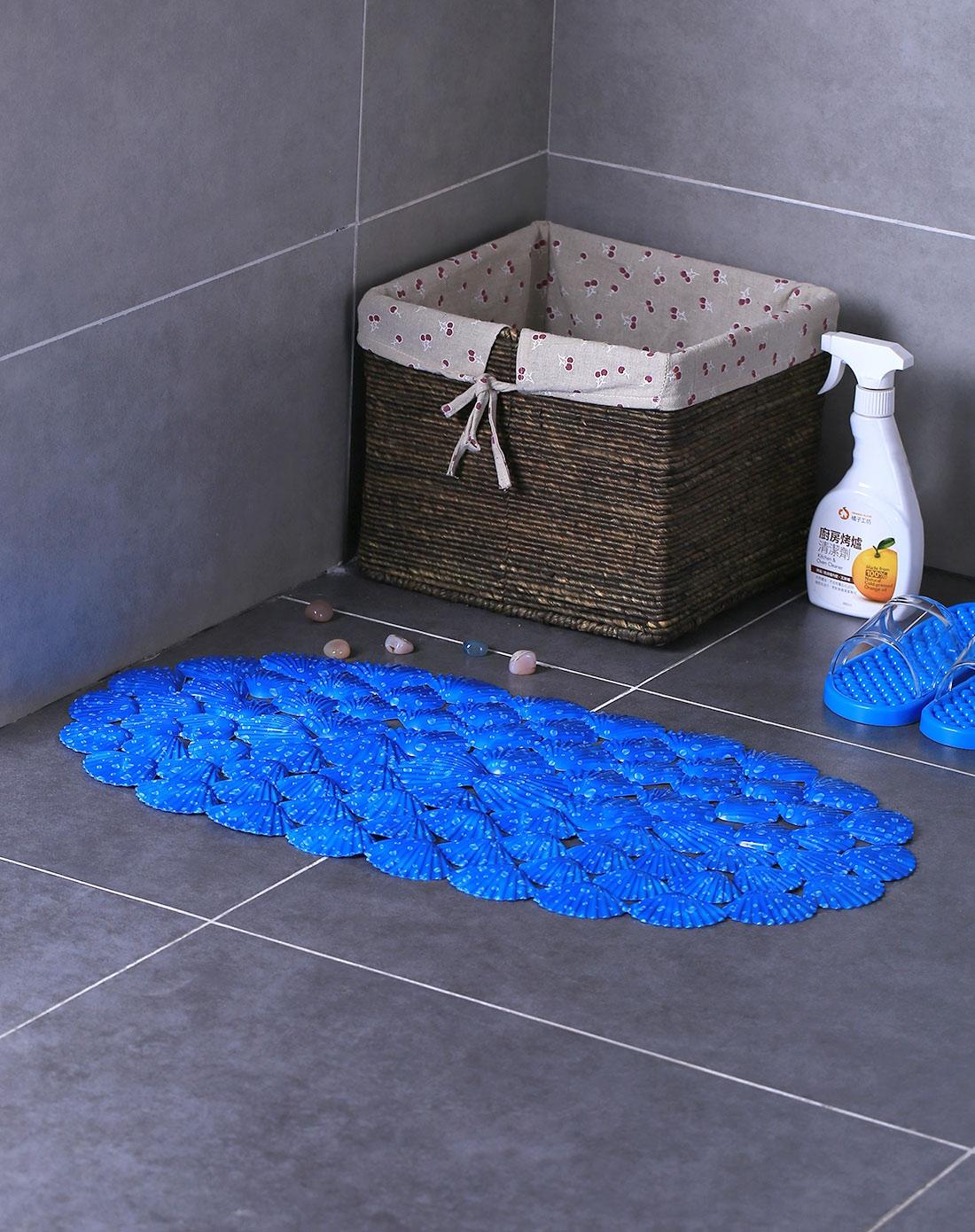 吸盘式深蓝色水滴贝壳浴室防滑垫