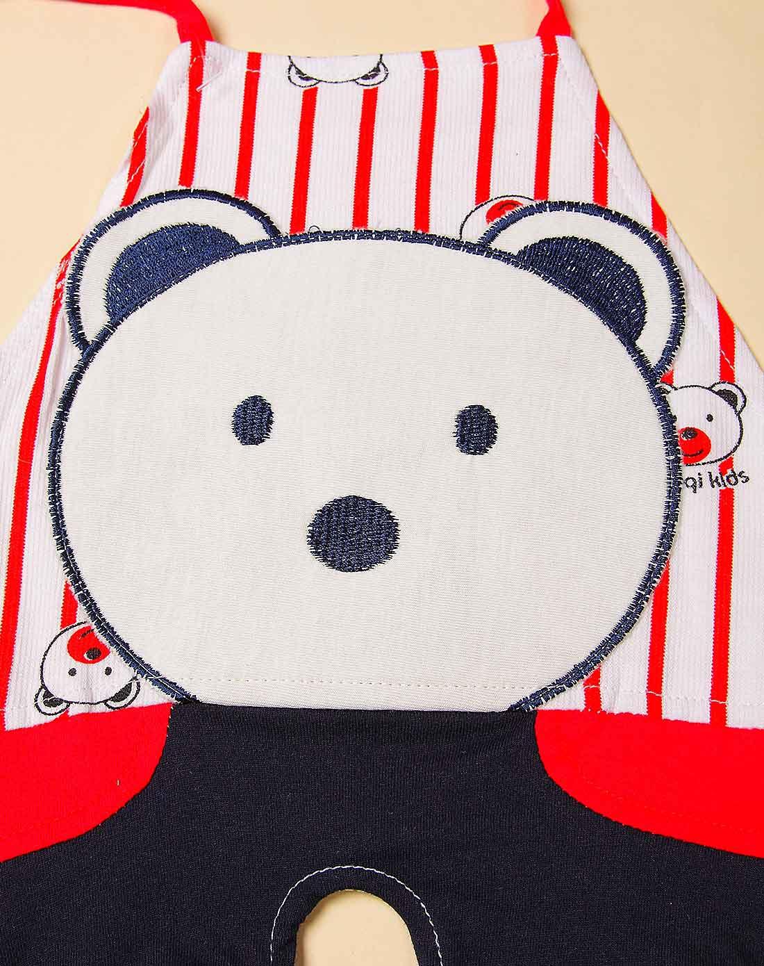 哈咪奇hamqi婴童服饰专场中性大红色可爱小熊肚兜