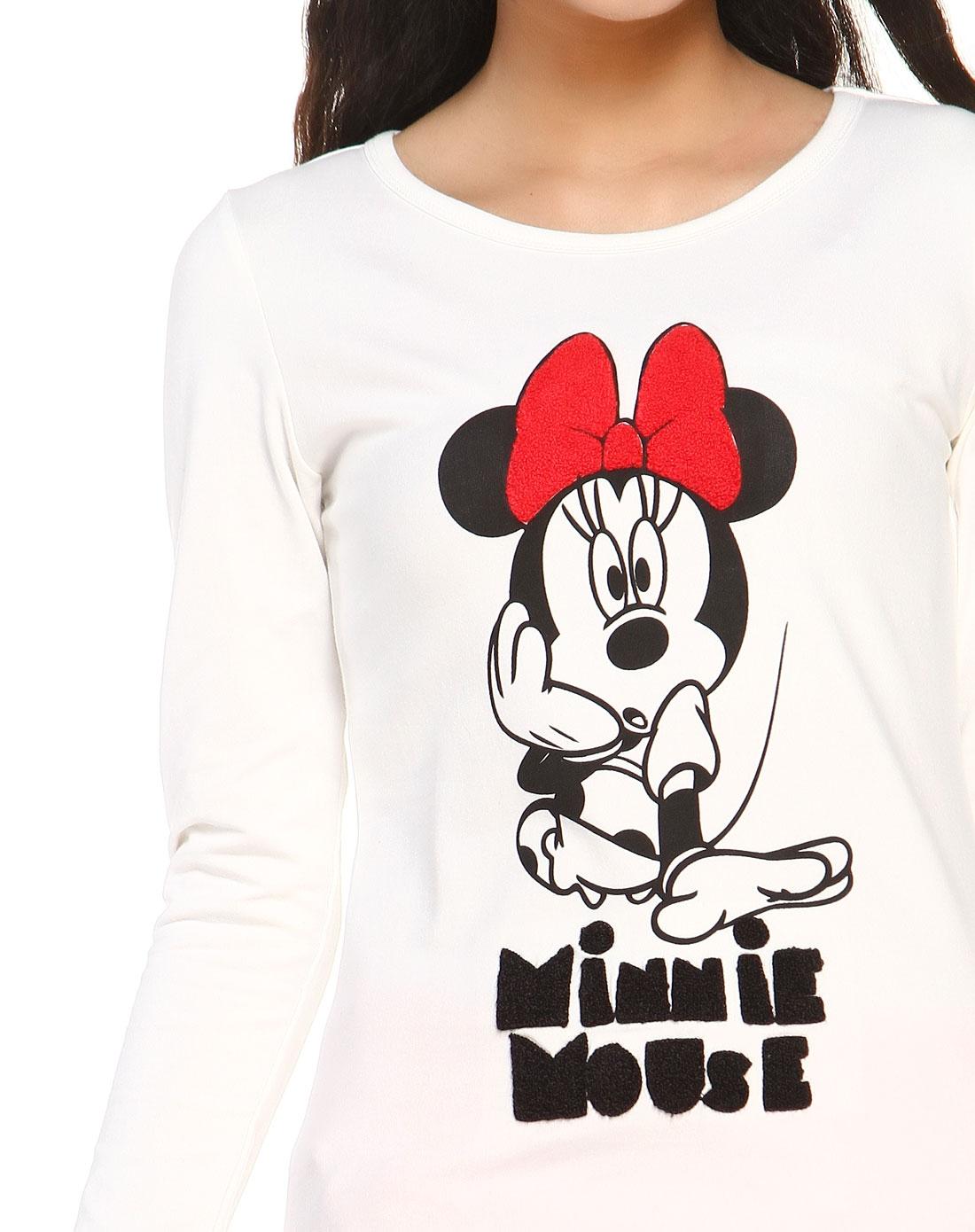 米白色卡通米妮图案长袖t恤