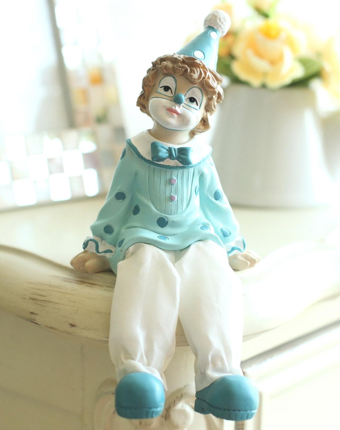 欧式田园可爱小丑坐腿娃娃摆件男孩儿