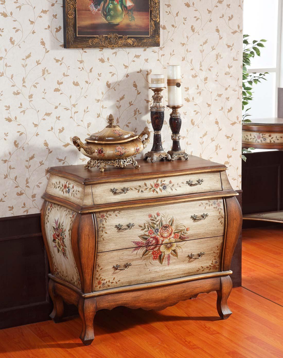 豪华欧式宫廷手绘玄关柜卧室柜抽屉柜