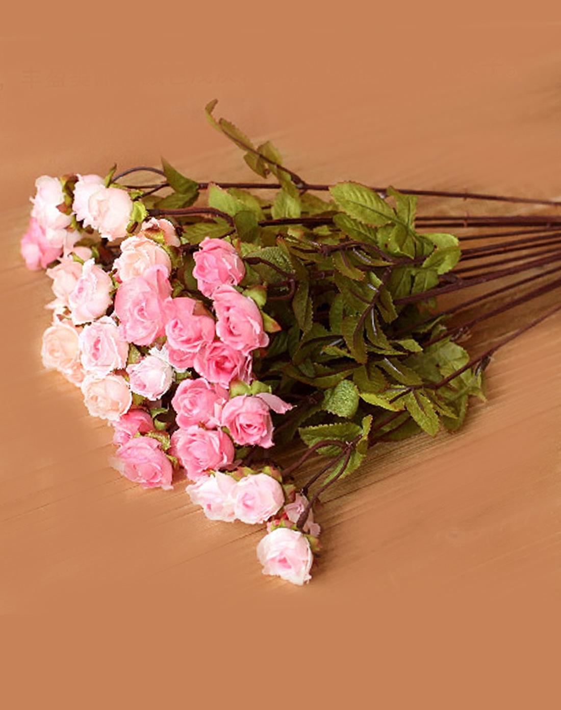【大型超仿真唯美花艺】5束粉红玫瑰配花瓶套装