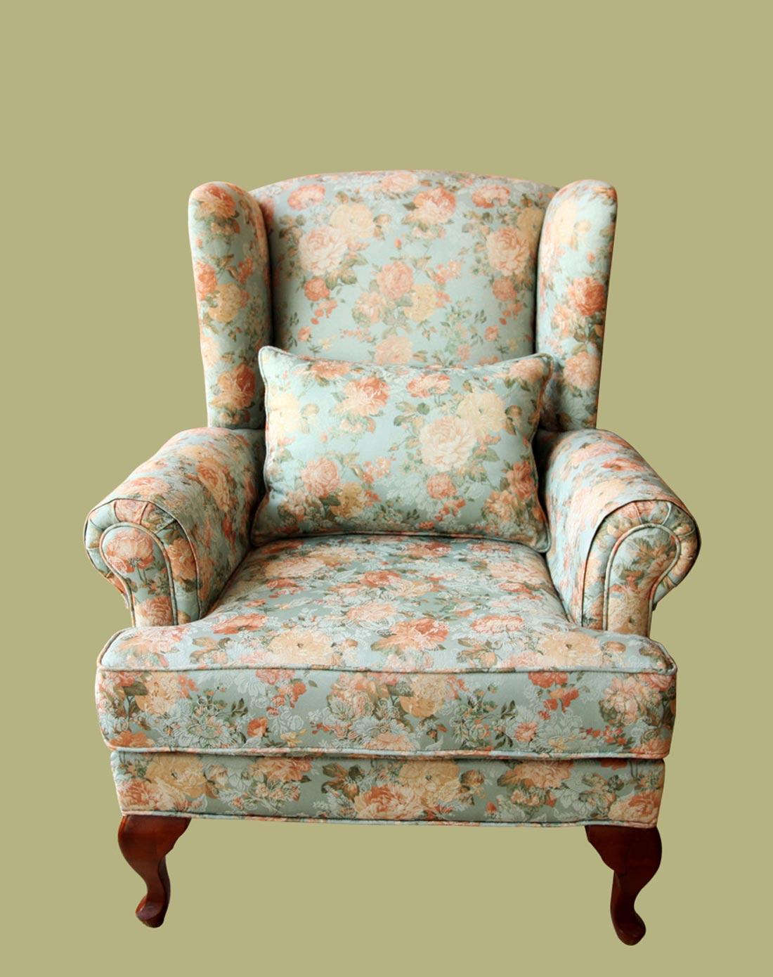 绿底花纹高档布艺欧式虎椅单人沙发