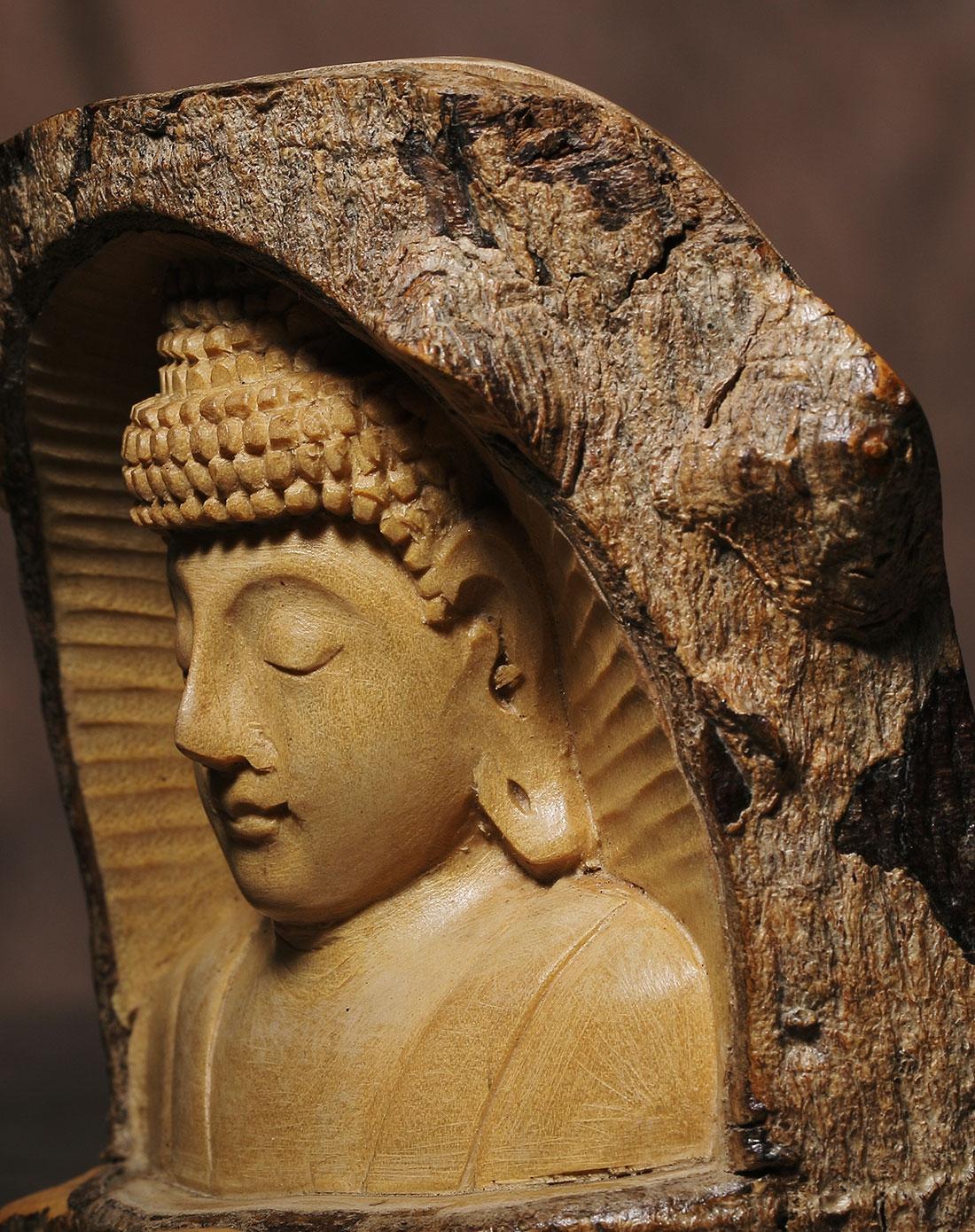 印尼.巴厘马斯大师手工木雕作品《佛光普照》