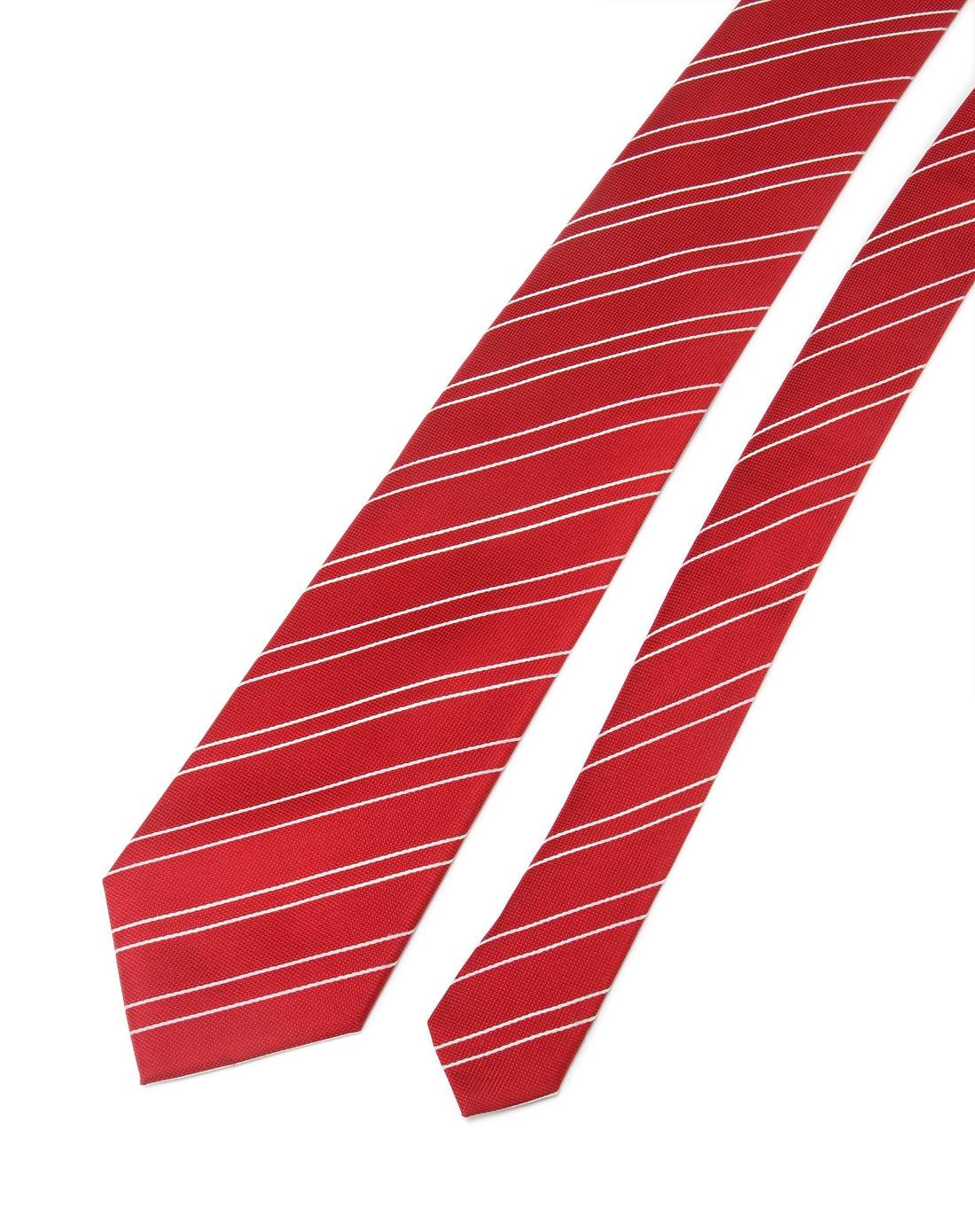 红色时尚斜纹拼接领带