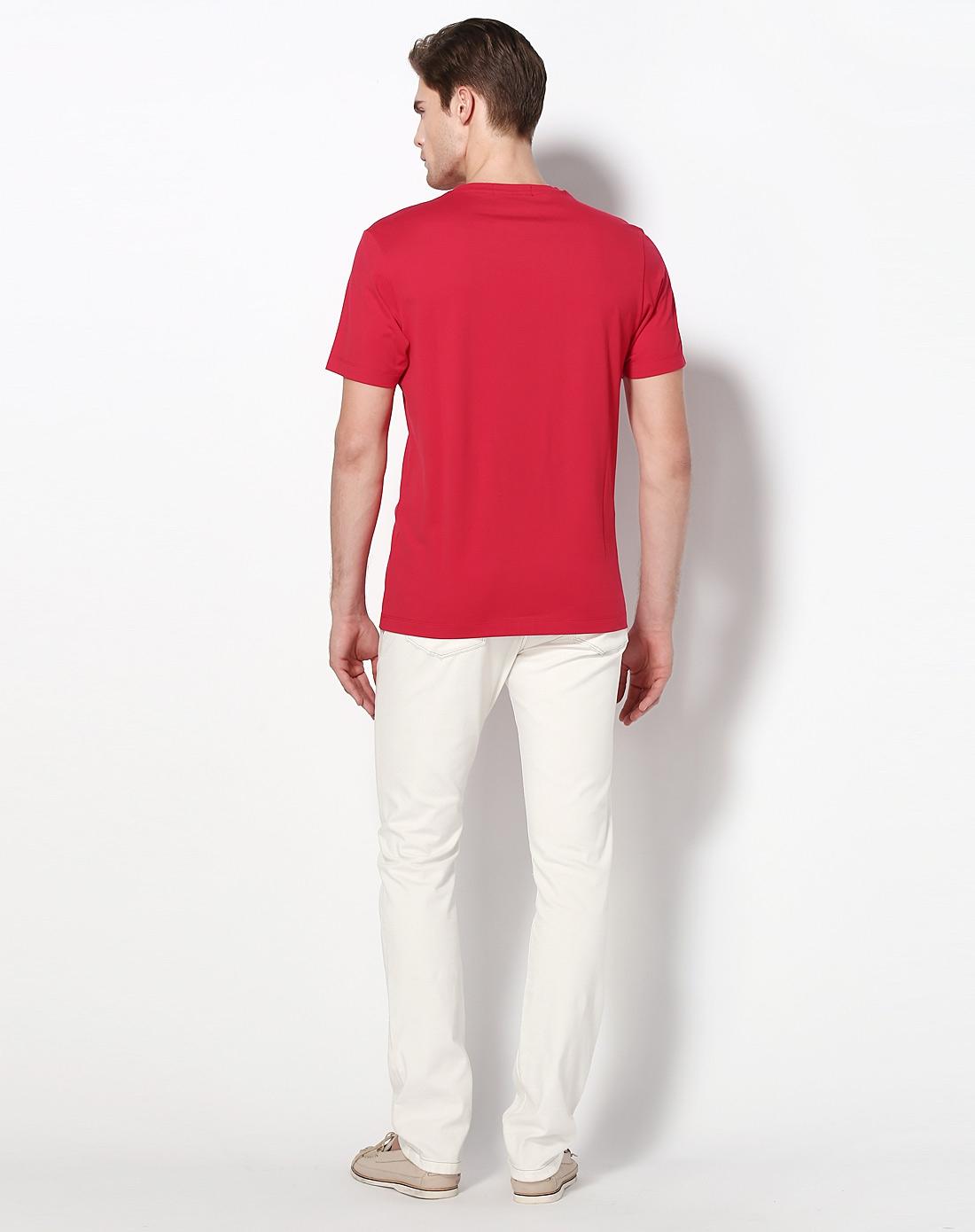 大红色印花短袖t恤