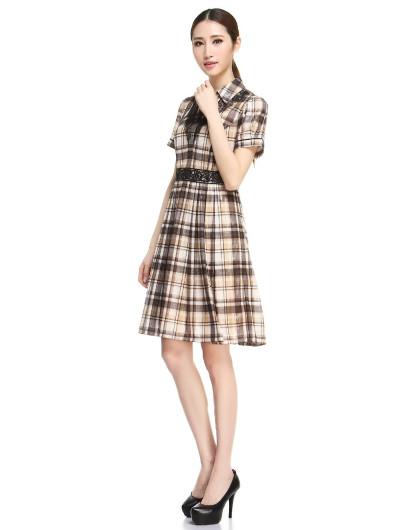 灰/橙黄色蕾丝格子短袖连衣裙