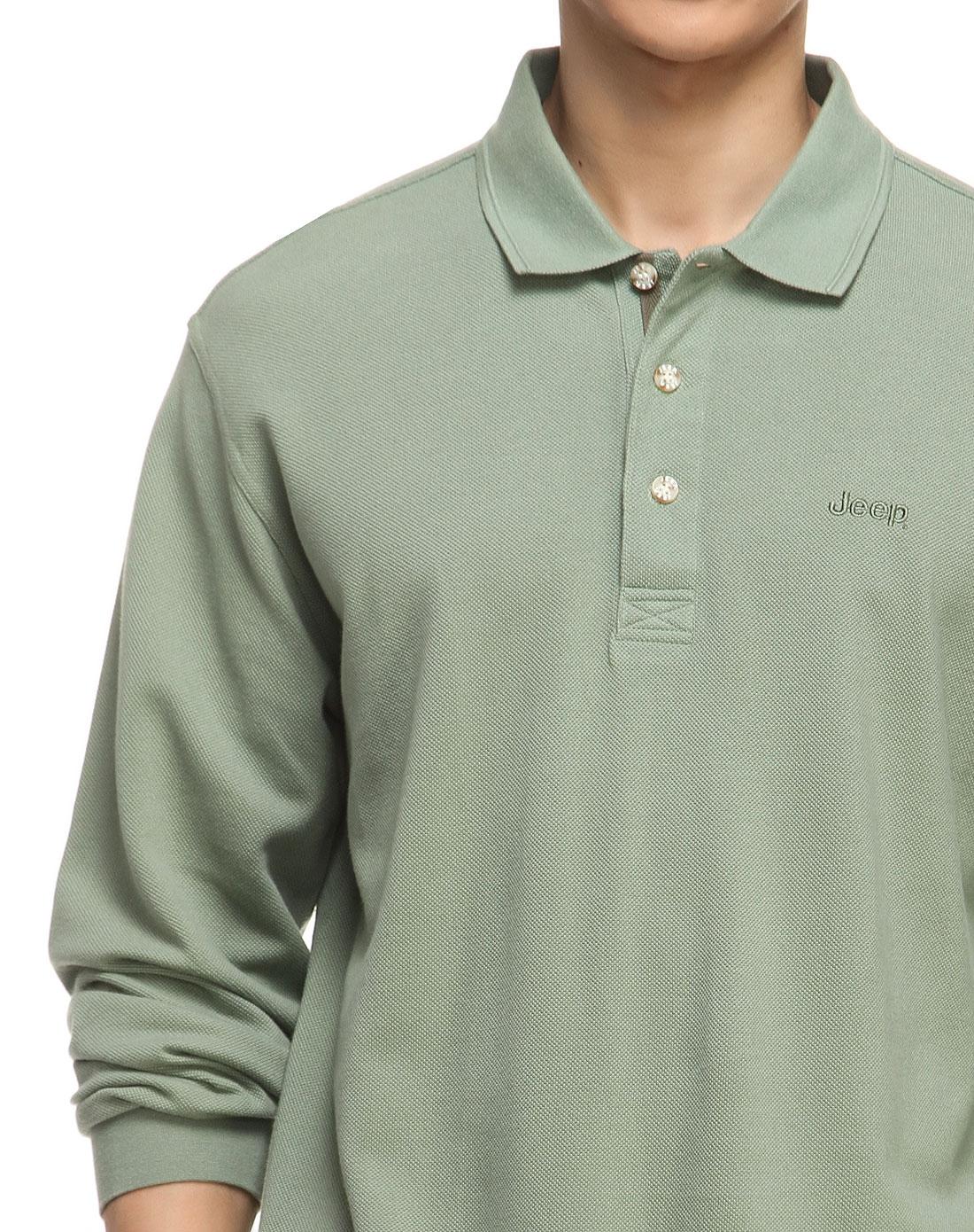 半襟简约绿色长袖polo衫
